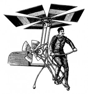 Early flying machine I Antique Scientific Illustrations